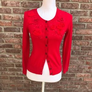 Banana Republic Red Flowered Cardigan